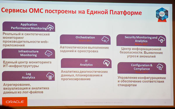 Сервисы Oracle Management Cloud